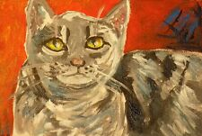 Wall Art print signed kitty cat pet red gray on paper