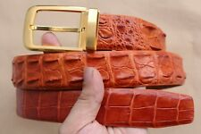 Luxury Orange Genuine Alligator Crocodile Leather SKIN MEN'S Belt UnJointed