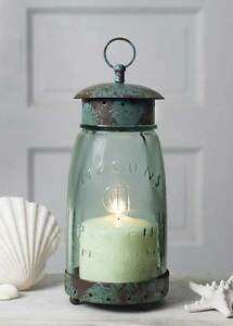 New French Country Shabby Chic RUSTIC BLUE MASON JAR LANTERN Candle Holder