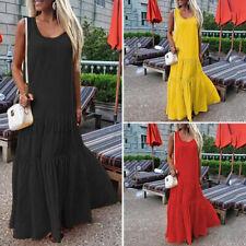 US Womens Sleeveless Summer Beach Sundress Kaftan Party Club Dresses Long Dress
