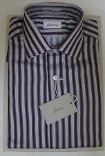Brioni Cotton Dress Shirt 15 3/4  (40 EU) Long Sleeve Gray Black Burgundy Stripe