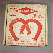 Vintage Diamond DOUBLE RINGER Pitching Horseshoe Set In Original Box 2 Pair