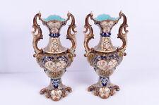 Wilhelm Schiller & Sohn Vasenpaar Kaminvasen Fayence 2 Vasen Prachtvoll Historis