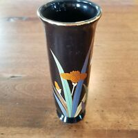 OTAGIRI Vtg Lotus Floral Pattern Bud Vase Black Gold Trim Made in Japan