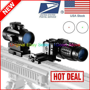 Dot Scope Red Sight + 3x Magnifier Hunting Tactical Riflescope Combo Flip Side✅✅