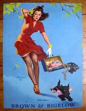 1940s Pin Up Girl Picture Finders Keepers Dog Stealing Brunettes Bra by Elvgren