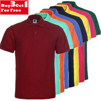 Men's Polo Shirt Golf Sports Plain Casual New Cotton Jersey T Shirt Short Sleeve