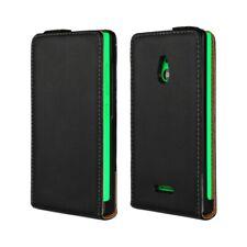 Lujo Cuero Abatible Billetera Teléfono Estuche Para Nokia Lumia 800 Negro