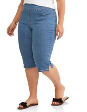 Terra & Sky Womens Capris Pull On Stretch Plus Size 0X 14W Blue Medium Stonewash