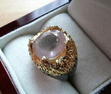 PINK ROSE QUARTZ  925 STERLING SILVER GOLD RHODIUM PLATED RING SZ Q 8.5