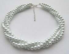 3 Strand Pearl Choker Necklace With extension chain