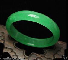 Certified Natural Beautiful Green Jadeite Jade Bangle Bracelet Handmade 56-63mm