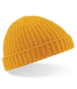 Trawler Beanie Knitted Fisherman Hat Retro Beechfield Vintage Style Ski Wooly