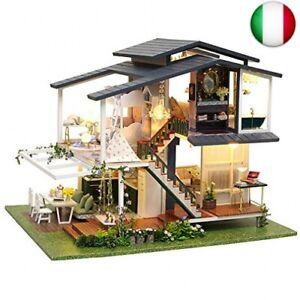 CUTEBEE Miniatura casa delle Bambole con mobili, Fai da Te Kit di Dollhouse di