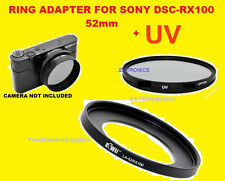 ADAPTER RING+UV FILTER AptTo CAMERA SONY DCR-RX100M2 RX100M3 RX100M4 52mm