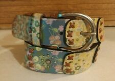 New listing Vintage Fossil Painted Floral and Studded Boho Leather Women's Belt Size Small