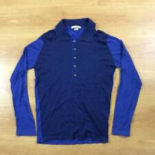 John Smedley Sea Cotton Thin Lightweight Blue Long Sleeved Polo Shirt Small S