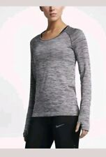 Nike Dry Women's Knit Dri - Fit Running Top  Grey Black Size Medium 831500 010