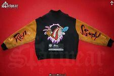 🔥Vtg 90s Ren & Stimpy Nickelodeon TV Show Crew Leather Wool Denim Jacket M/L