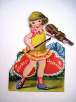Adorable Vintage Mechanical Die Cut Valentine w/ Girl Playing Violin  *