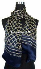 Double Layer 100% Silk Satin Neck Scarf Wrap, Navy Blue