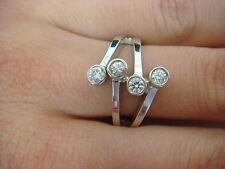 14K White Gold 4 Diamonds Bezel Set Right Hand Ring 6.6 Grams 0.40 Ct. T.W.