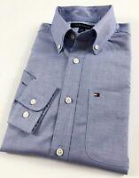 TOMMY HILFIGER Shirt Men's Light Blue Chambray Oxford Regular Fit 78D9368 080