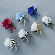 Bride Groom Boutonniere Rose Corsage Artificial Silk Wrist Flower Blue PinBrooch