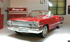 1:24 Scale Welly Chevrolet Impala Cabrio 1963 Diecast Model Car 22434 in Red