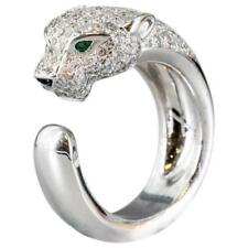 Panthere 1.20ct Round Cut & Emerald 10K White Gold Over 925 Silver Band Ring