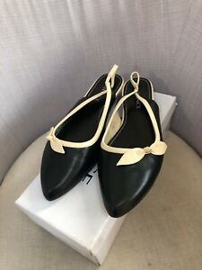 Ladies Black/Stone Leather Low Heel Sling Back Shoes UK 8 Wide NEW (E/10) SO