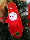 VINTAGE SPUN COTTON HEAD SANTA IN BURLAP SLIPPER WITH DRESDEN DECOR CHRISTMAS OR