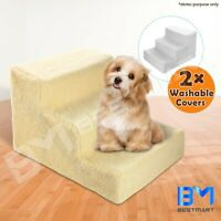 3 Steps Pet Cat Dog Stairs Ramp Washable Soft Plush Cover Ladder Doggy Portable