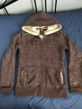 Hurley Womens Brown Heavy Full Zipper Hooded Sweatshirt  XSmall  SC9