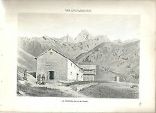 1880 LA PLONTA ALP FRASSY VALGRISENCHE Arvier Valle d'Aosta litografia alpinismo