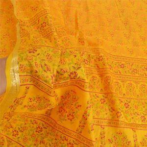 Sanskriti Vintage Yellow Sarees Pure Silk Printed Sari Zari Border Craft Fabric