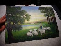 Ancienne Peinture sur Carton Bergère et son troupeau de Mouton / O.Perut Maison