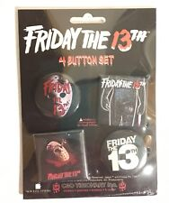LICENSED Friday the 13th Jason Voorhees Set of 4 Buttons NEW
