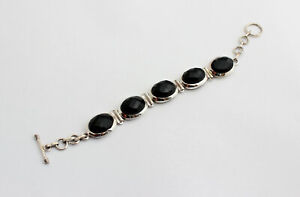 Onyx Gemstone Bracelet 925 Silver Black Facetted Oval Jewelry Gift 19 CM
