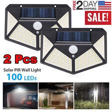 2x 100 LED Solar Powered Light Outdoor Motion Sensor Wall Yard Spa Garden Lamps