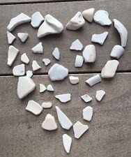39 Pcs White Pottery Crockery China Porcelain Sea Glass Art Mosaic Crafts  #752