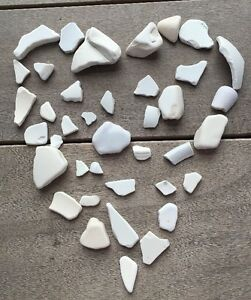 39 Pcs White Pottery Crockery China Porcelain Sea Glass Art Mosaic Crafts  #752