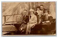 Vintage 1900's RPPC Postcard Family Portrait in Model K Antique Car
