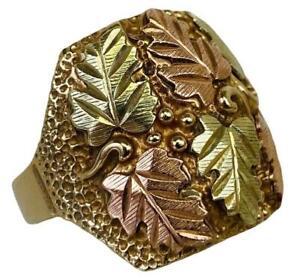 Black Hills 10K Yellow Rose Gold Leaf Vines Chunky Western Men's Ring Size 9.75