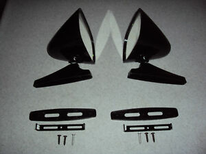 BLACK SPORT MIRRORS MUSCLE CAR RESTO MOD HOT ROD LOW RIDER CLASSIC PAIR NOS R