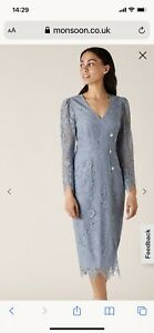 Monsoon Dress Size 18, Blue, Mother Of The Bride ? Immaculate Condition