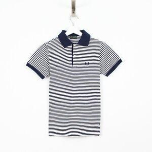 M15 Fred Perry Polo Men Blue White Striped Cotton Short Sleeve Top Shirt XXS