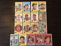⚾️1959 Topps Baseball Cards Milwaukee Braves Lot 17 Hank Aaron 380 Mathews⚾️