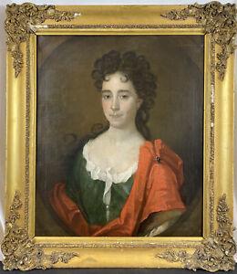 Original 18th C. English School Portrait of a Noble Lady Woman Oil on Canvas