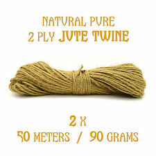 100m (50m x 2 bunch) 2 Ply Tidy Pure Jute Twine String Crafts Shabby Chic